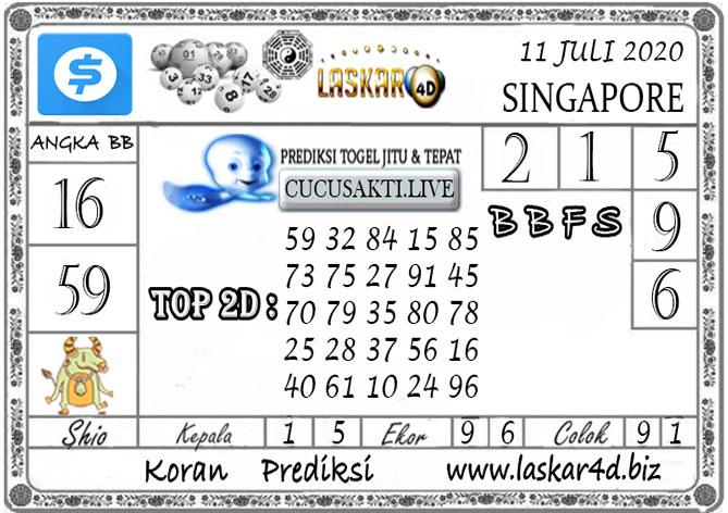 Prediksi Togel SINGAPORE LASKAR4D 11 JULI 2020