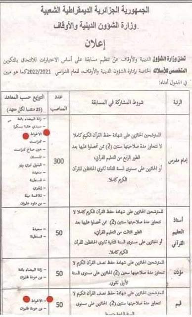 اعلان توظيف بوزارة الشؤون الدينية و الاوقاف اوت 2021