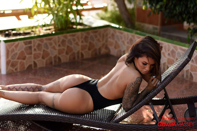 Gemma Massey showing sexy back in black bodysuit