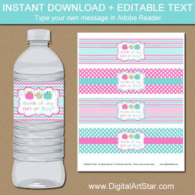 Printable pumpkin gender reveal water bottle labels