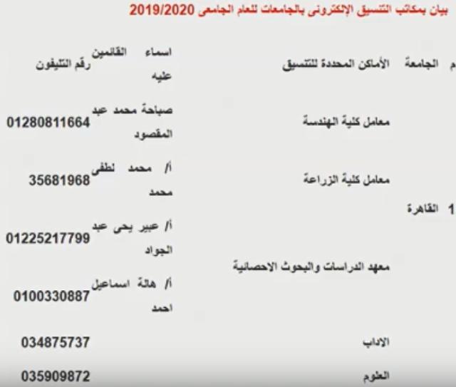 أرقام تليفونات معامل ومكاتب الحاسب الآلى للتنسيق 2019 لتسجيل رغبات ثانوى عام