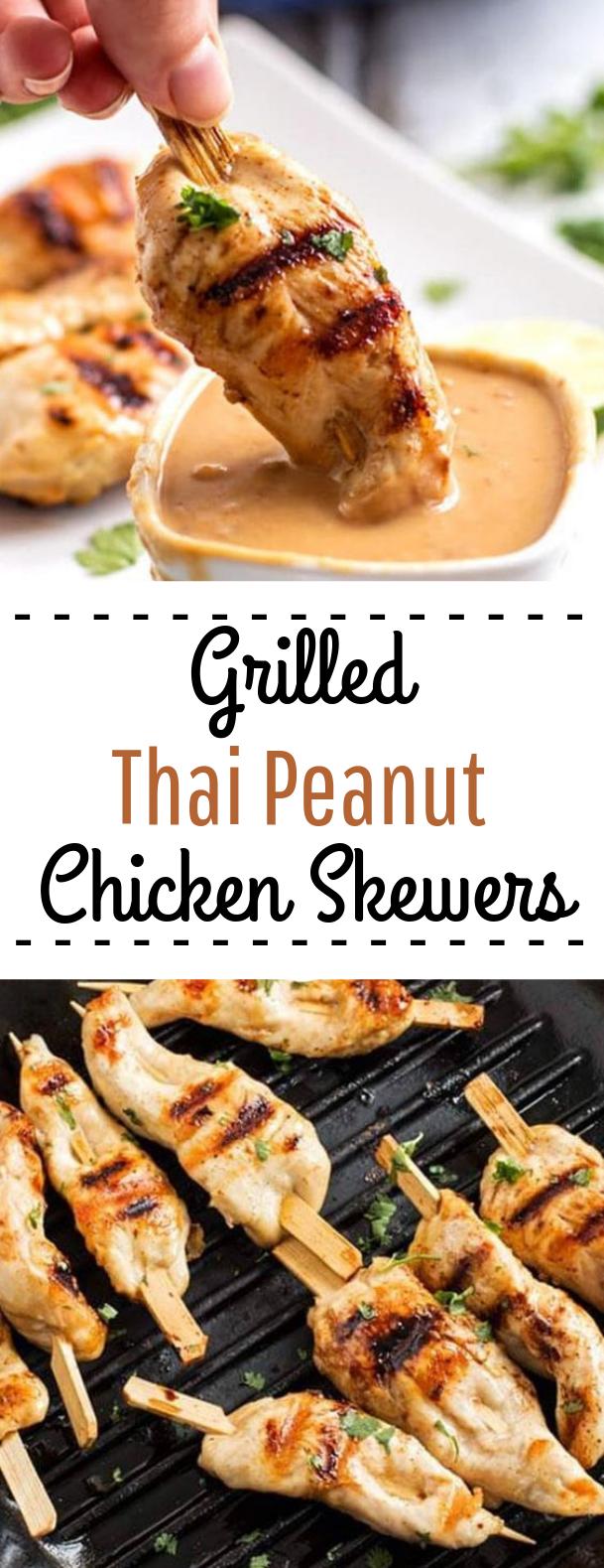 Thai Peanut Chicken Skewers #skewers #chicken