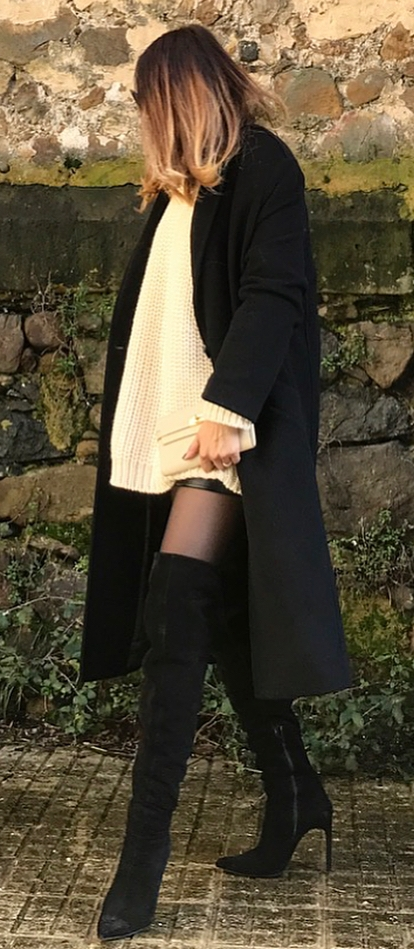 how to wear over knee boots / balck coat + bag + white sweater dress