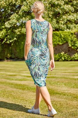 Green Leaf print Slouch Sun dress back side