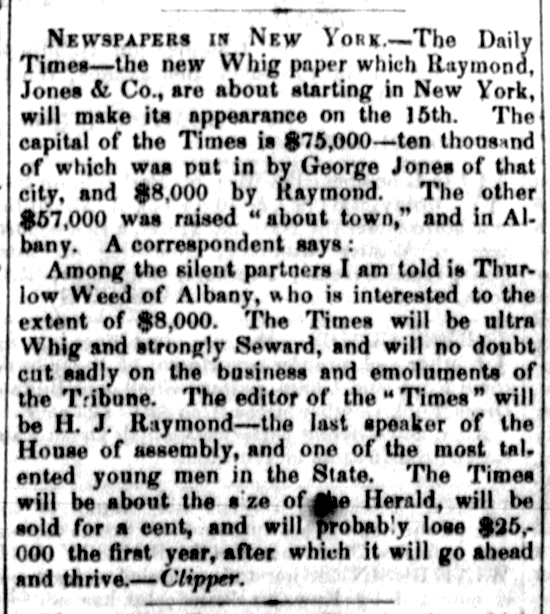 New-York Daily Times, advertising Sept. 12, 1851