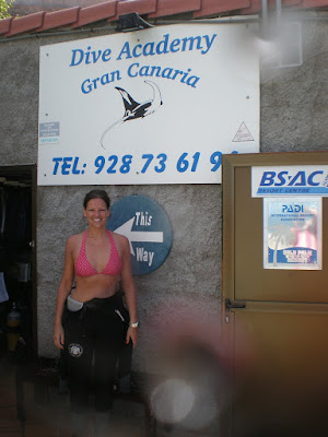 Ellis working as a PADI Divemaster with Dive Academy Gran Canaria