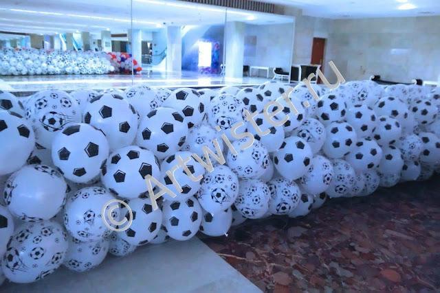 Сетка с печатными воздушными шарами для сброса на корпоративе