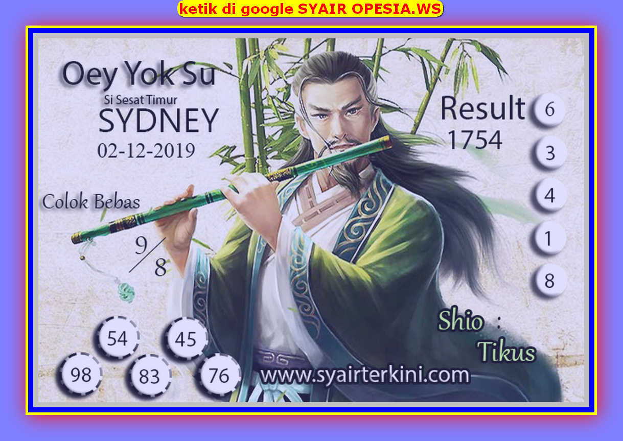 Kode syair Sydney Senin 2 Desember 2019 126
