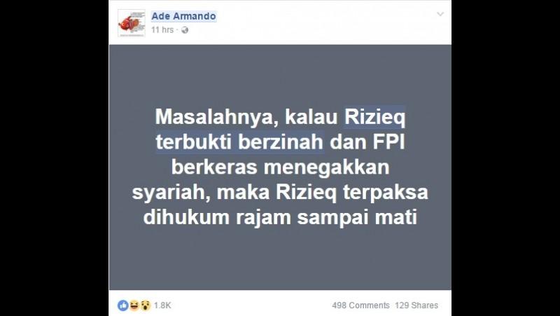 Status FB Ade Armando soal Rizieq