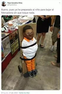 Niño amarrado cómo hannibal lecter