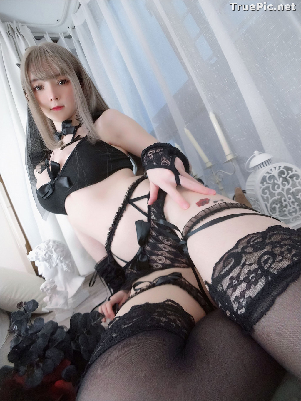 Image Chinese Model - 一小央泽 (Yixiaoyangze) - Sexy Black Rose - TruePic.net - Picture-38