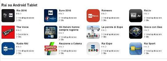 Tutte le applicazioni RAI per la piattaforma Android.