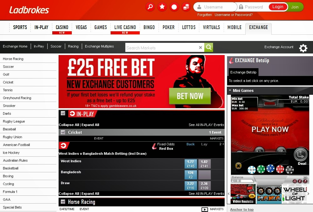 Ladbrokes Exchange Screen