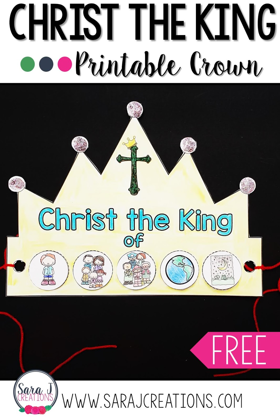 Free printable crown for Christ the King. The perfect way for kids to celebrate the Solemnity of Our Lord Jesus Christ, King of the Universe