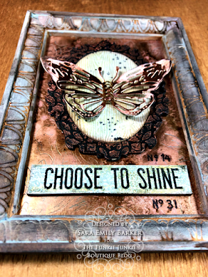 Sara Emily Barker https://sarascloset1.blogspot.com/2020/06/copper-penned-panel.html Mixed Media Panel #timholtz #sizzix #stampersanonymous #ranger 6