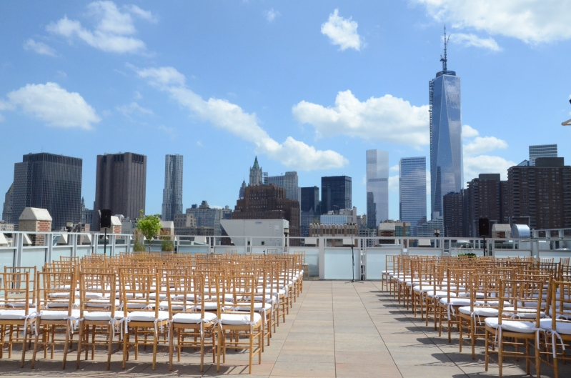Beautiful Outdoor Wedding Ceremony At Tribeca Rooftop: Universal Light And Sound: TriBeCa Rooftop