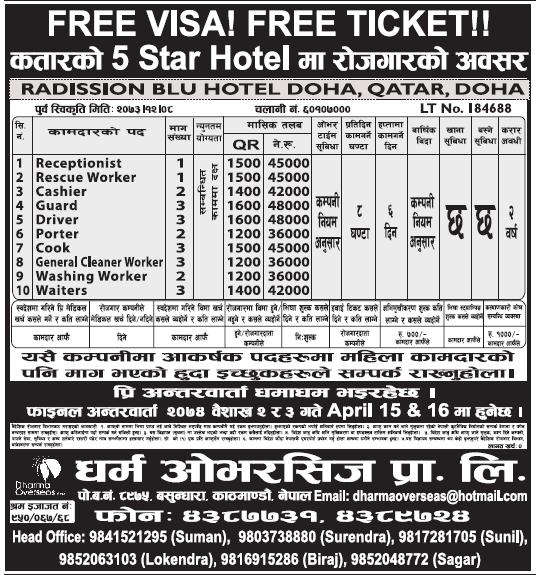 Free Visa Free Ticket Jobs in Qatar for Nepali, Salary Rs 48,000
