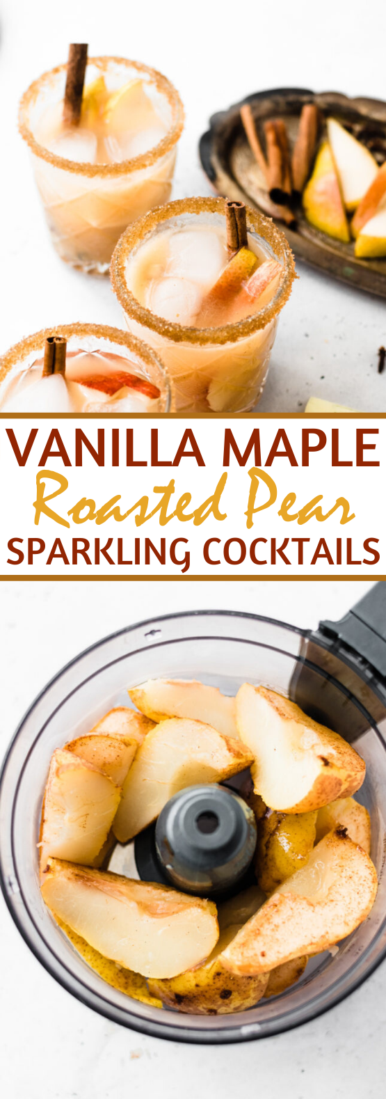 Vanilla Maple Roasted Pear Sparkling Cocktails #drinks #cocktails #alcohol #fall #beverages