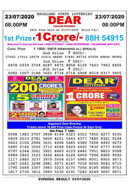 Nagaland State Lottery Sambad 23-07-2020 Today Result 8 PM