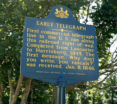 Early Telegraph Historical Marker in Mt. Joy Pennsylvania