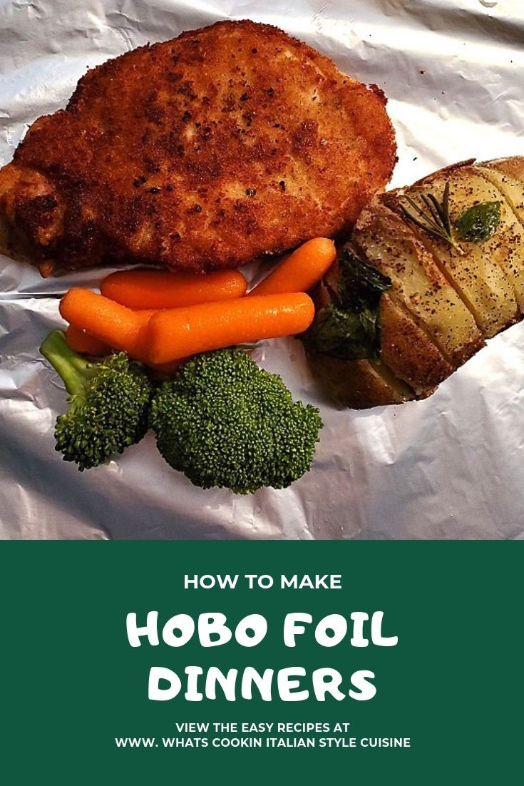 foil packets filled with leftover breaded pork chops, fanned potatoes, carrots,  or any kind of meat with vegetables wrapped in foil grilled or baked for a fun package and surprise all in one dinner foil packets for dinner