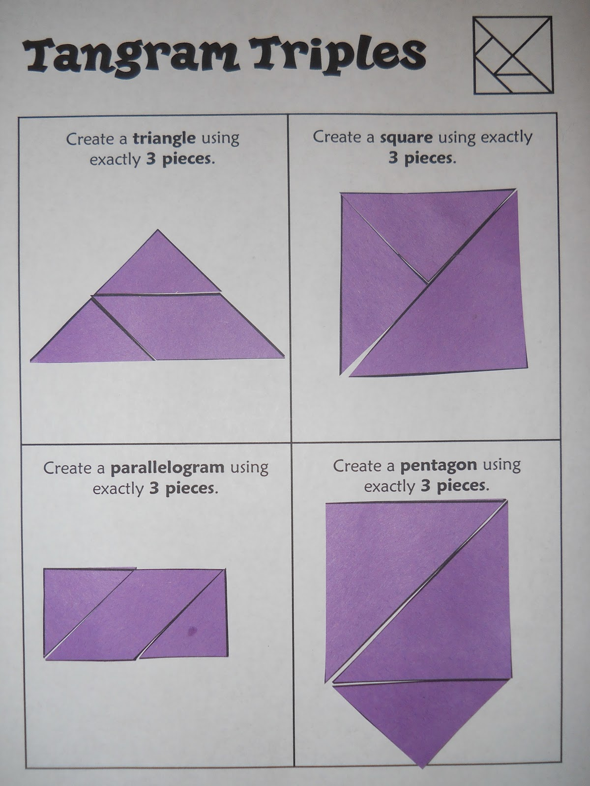 Mrs T S First Grade Class Tangram Challenges