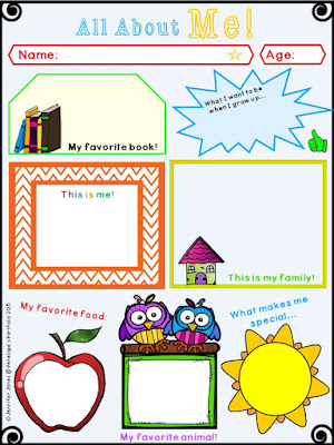 All About Me Printable - alternative version