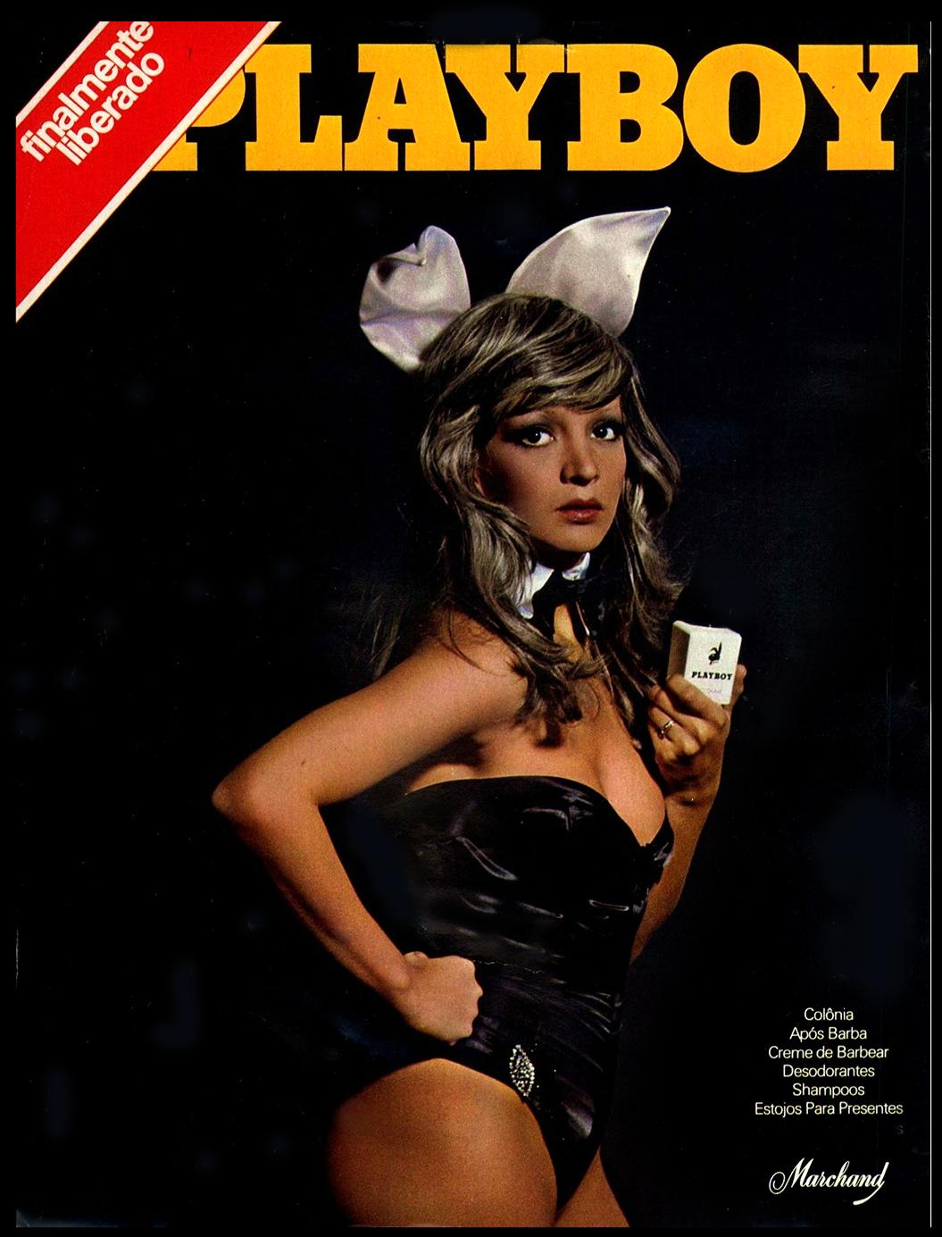 Anúncio da Marchand promovendo a linha de higiene masculina da Playboy, em 1974