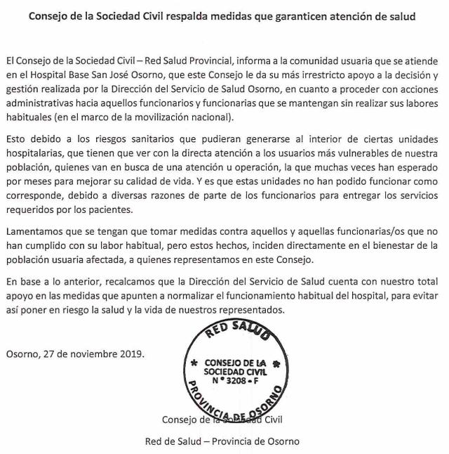 Declaran respaldar decisión del SSO sobre funcionarios en Paro