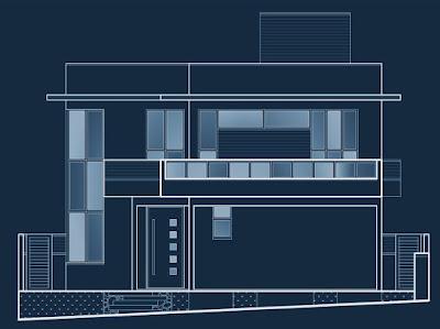 Reprodução do desenho da fachada em caráter unidimensional representando duas dimensões, conforme foi apresentado para aprovação do projeto no loteamento fechado, que popularmente é citado como condomínio.