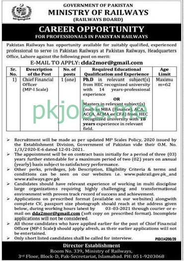 Latest Ministry of Railways Posts 2021