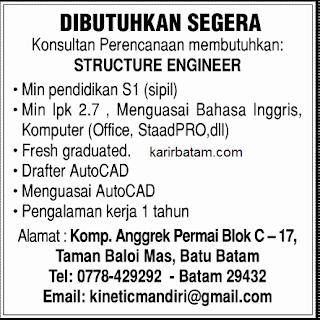 Lowongan Kerja Structure Engineer Baloi Mas
