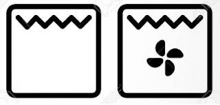 Dos cuadrados, uno con el signo del grill arriba. El otro cuadrado igual pero con el signo del ventilador.