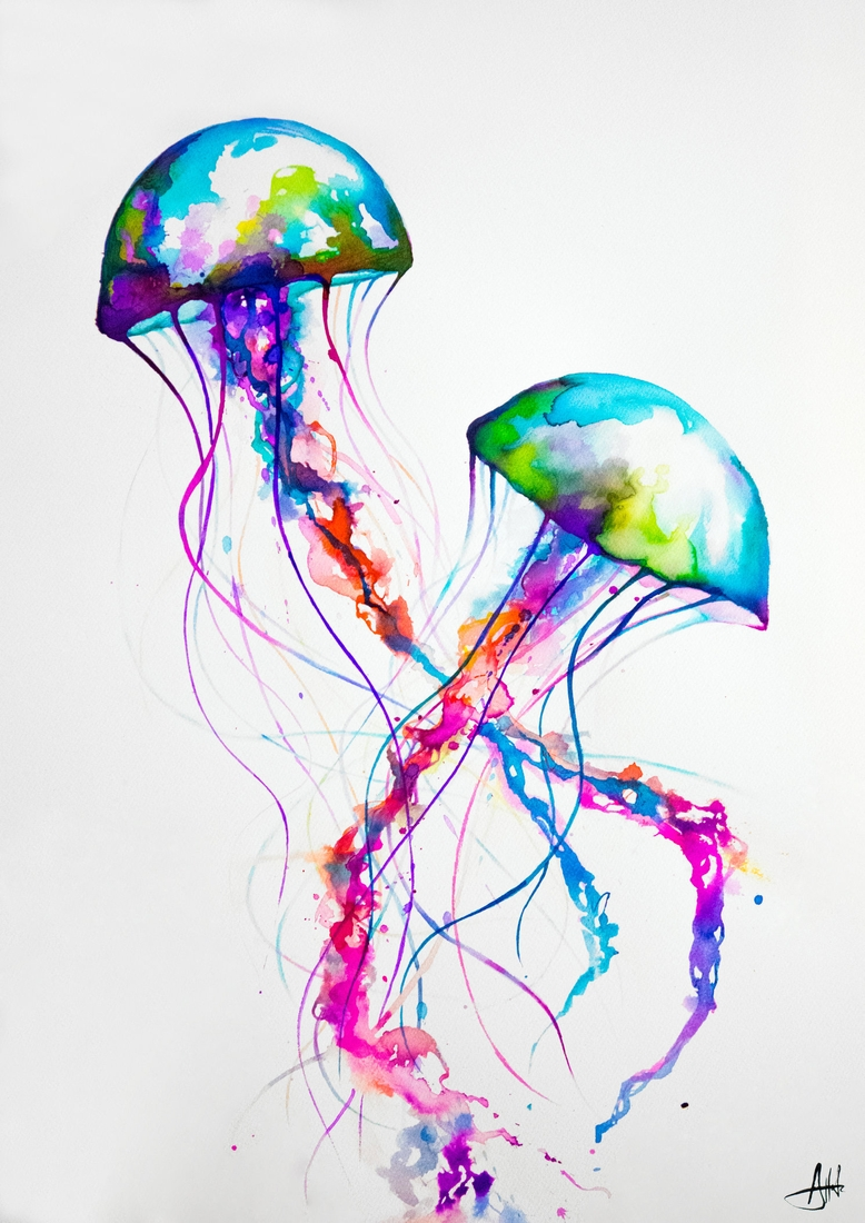 05-Jellyfish-Marc-Allante-Wild-Animal-Paintings-with-a-Splash-of-Color-www-designstack-co