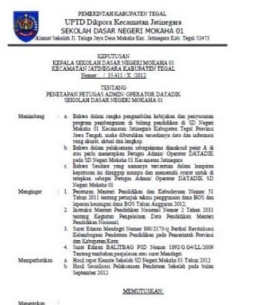 Download Contoh Perintah Format Baru SK Operator sekolah 2017
