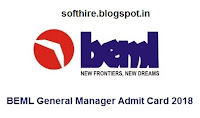 BEML General Manager Admit Card