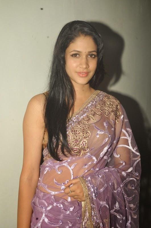 Lavanya Tripathi Hot Hip Navel Show Photos In Violet Saree