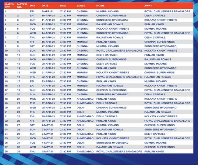 ipl 2021 ka schedule list