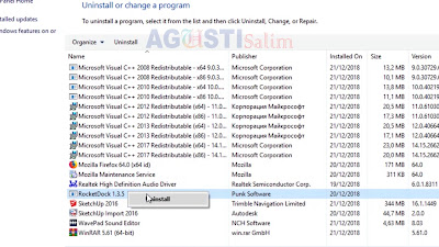Menghapus Aplikasi RocketDock dan mengembalikan tampilan Mac ke Windows
