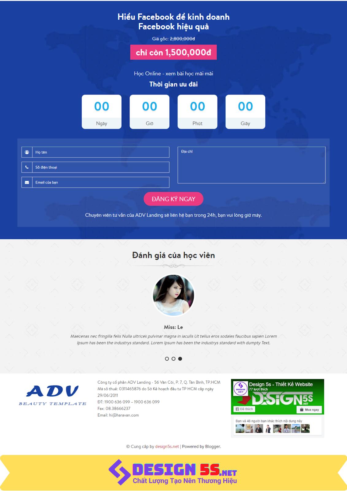 Theme blogspot landing page dịch vụ cho Facebook VSM50 - Ảnh 2