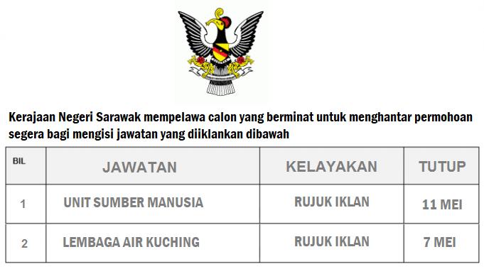Iklan Jawatan Kosong Unit Sumber Manusia dan Lembaga Air Kuching