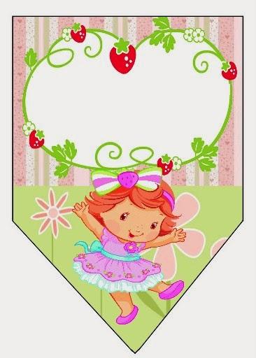 Banderines de Fiesta de Strawberry Shortcake bebé para imprimir gratis.