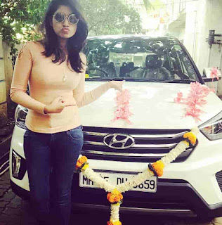 Rasika Sunil With Her Car