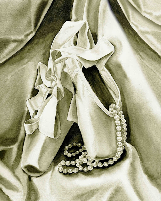 watercolour artwork of ballet slippers and pearl beads