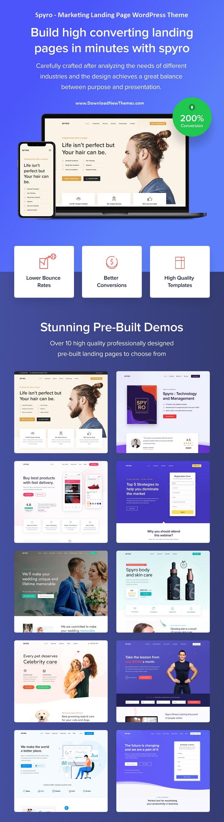 Spyro - Marketing Landing Page WordPress Theme