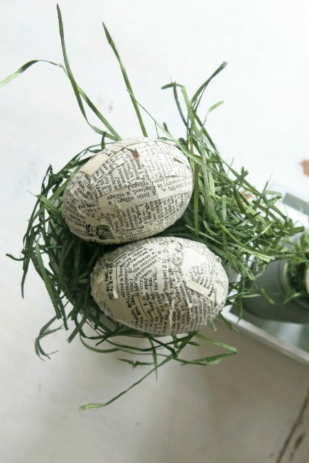 Vintage Book Paper Covered Eggs by Making Manzanita