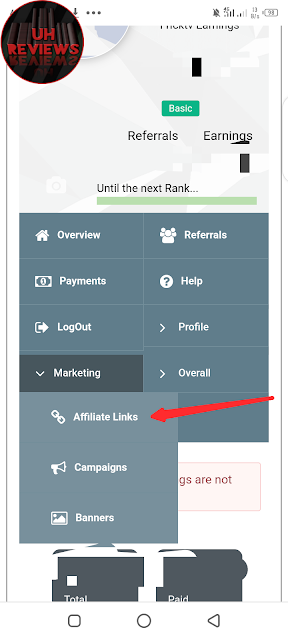 Copy out your Affiliate link from Fricktv income marketing