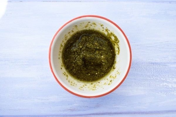 pesto in a small bowl
