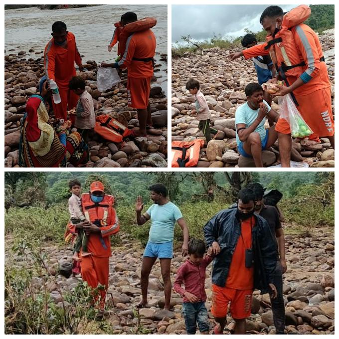 एनडीआरएफ टीम ने बचाई भीषण बाढ़ में फंसे एक ही परिवार के 5 सदस्यों की जिंदगी