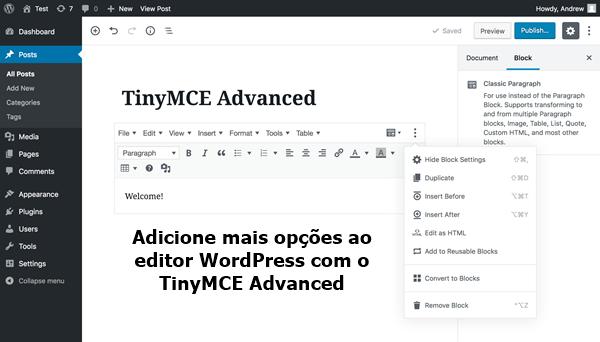 editor WordPress com o TinyMCE